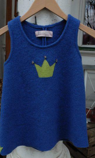 Trägerkleid für Kind aus Walkloden mit Prinzessinnenkrone